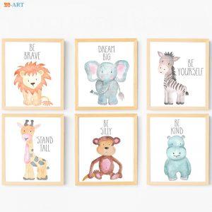 Pintura Animal Safari Em Tela de Tecido Quarto Do Bebê 1
