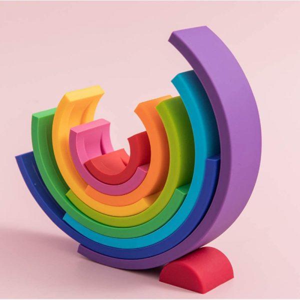 Conjunto de Blocos de construção arco-íris montessori para bebês 1